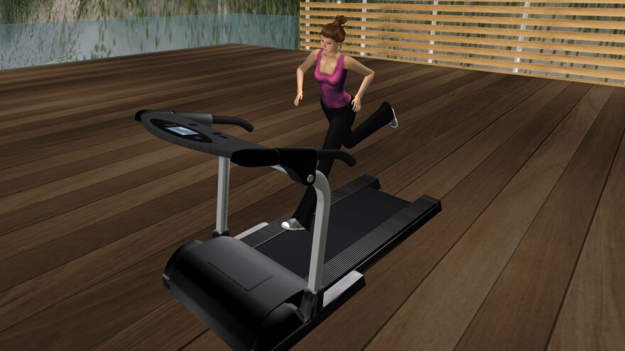 A player avatar runs on a treadmill in the virtual world of <em>Second Life. </em>Researchers used the online game to see if it could help people maintain weight loss habits in the real world.