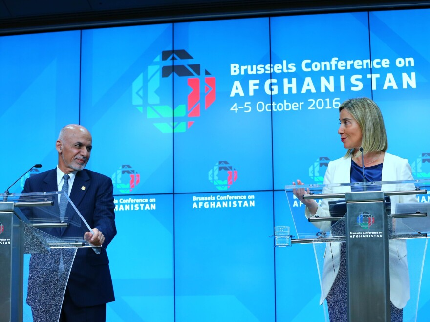 Afghan President Ashraf Ghani, left, and Federica Mogherini, high representative of the European Union at a press conference on Wednesday after a two-day conference on Afghanistan.