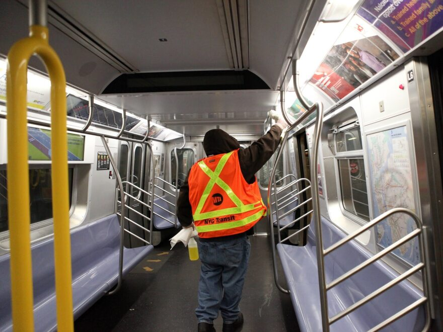 When New York City subway trains pull into the terminal, cleaners get on armed with more than a spray bottle with an EPA-approved cleaning solution and have a short period of time to spray and wipe down the benches, poles and doors.