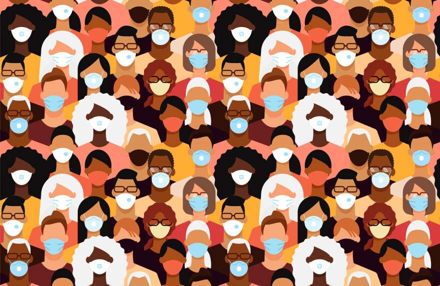 An illustration of a diverse crowd in face masks.