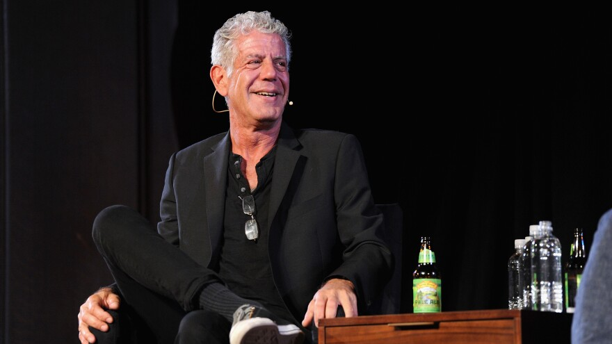 Chef Anthony Bourdain speaks at New York Society for Ethical Culture in Oct. 2017. Bourdain died at age 61 on June 8.