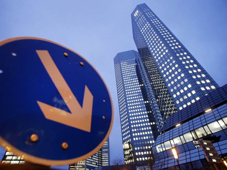 The headquarters of Deutsche Bank in Frankfurt. Germany's largest bank has been hit with a $2.5 billion fine for manipulating a key interest rate. Seven other banks in various countries have also been fined in the far-reaching scandal.