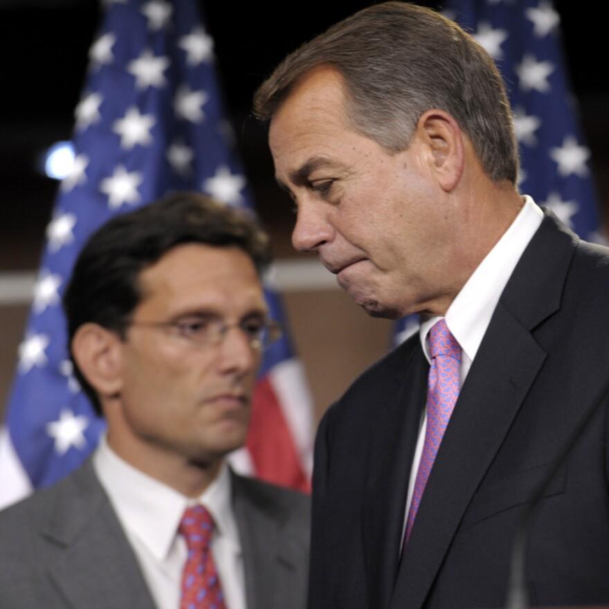 Speaker John Boehner (r) with House Majority Leader Eric Cantor, Sept. 23, 2011.