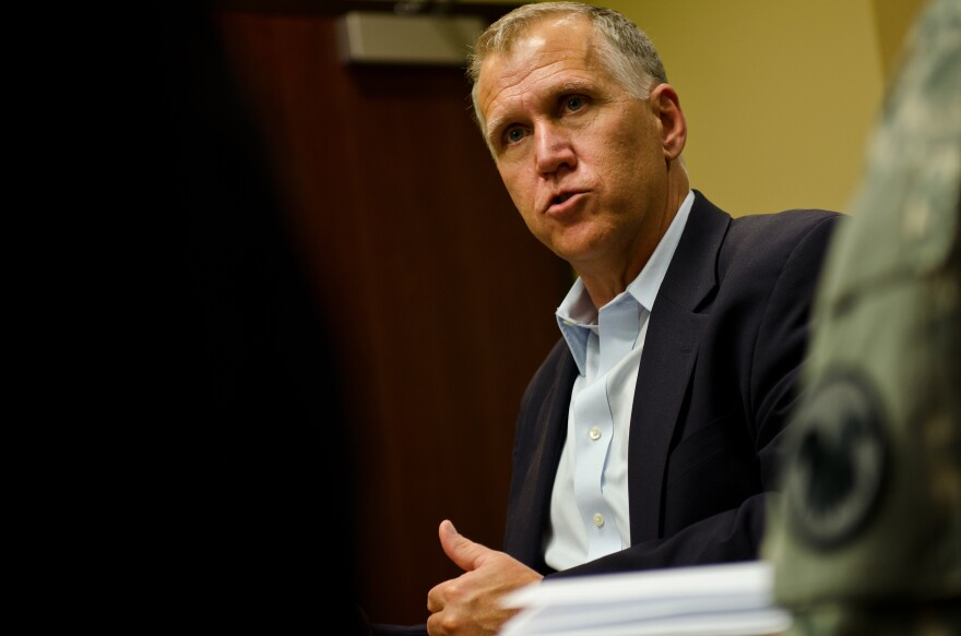 North Carolina U.S. Sen. Thom Tillis spoke during a visit to U.S. Army Reserve Command headquarters, Fort Bragg, N.C., April 8, 2015.
