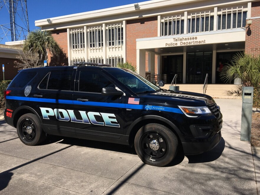 Tallahassee Police Department vehicle parked in front of police headquarters