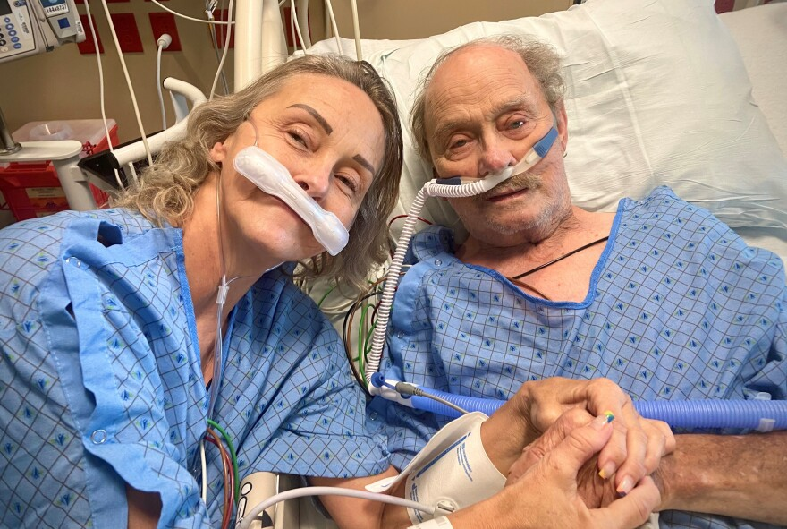 Lindsay Wootton's mother, Tracy Larsen, and grandfather, Bert Porter, were able to see each other during a special visit arranged by the ICU. Both of them died of COVID-19.