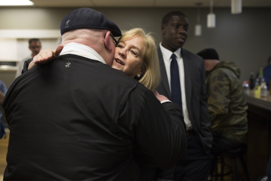 Mayor Lyda Krewson greets attendees at an election night watch party at the St. Louis Police Officers' Association.