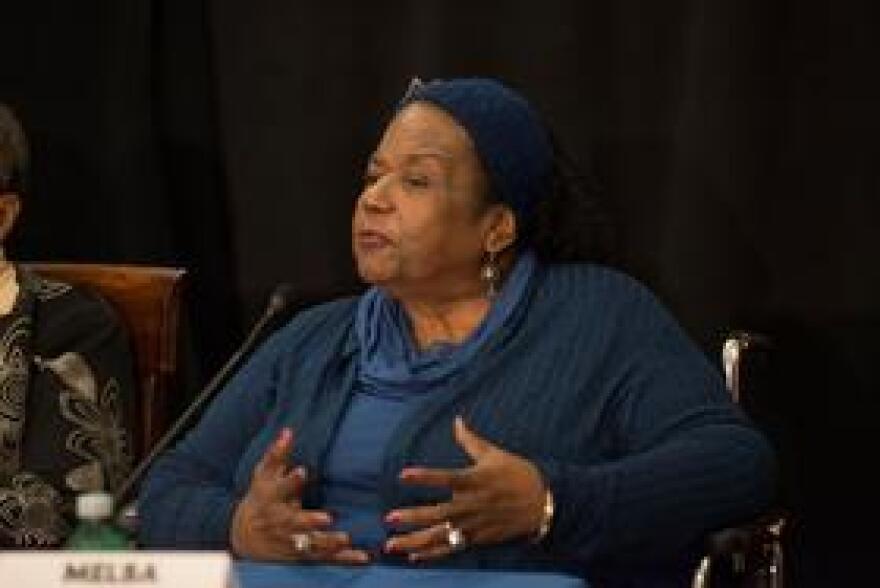 Melba Beals at Friday's press conference.