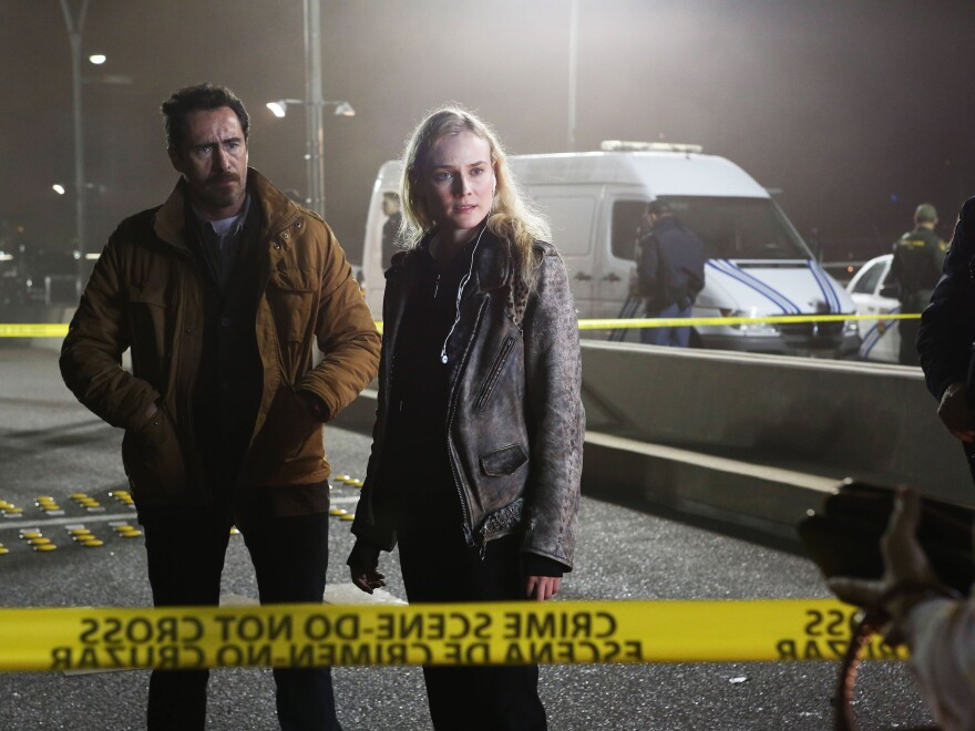 Mexican homicide detective Marco Ruiz (played by Demián Bichir) must work with his American counterpart, Sonya Cross (Diane Kruger), to solve a murder on the U.S.-Mexico border in FX's new series <em>The Bridge</em>.