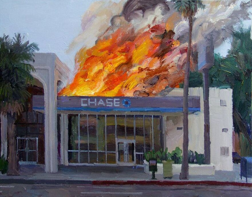 Chase Burning, an oil on canvas painting by Alex Schaefer.