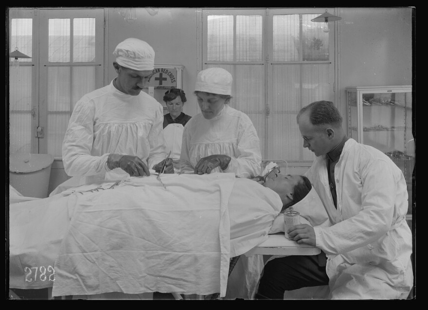 A French woman, at an American Red Cross civilian hospital, under ether for appendicitis.
