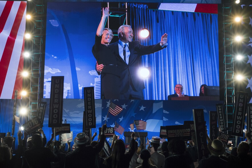 In the <em>House of Cards</em> convention, multiple ballots bring surprises for first couple Claire and Frank Underwood (Robin Wright and Kevin Spacey), including one involving a female secretary of state.