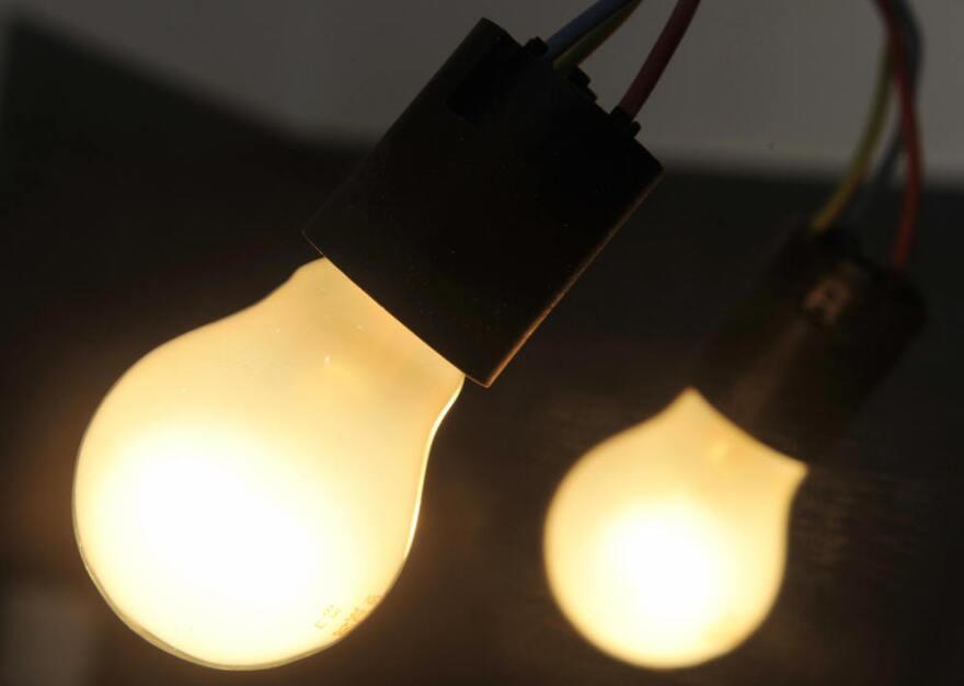 A pair of incandescent light bulbs.