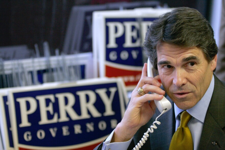 Rick Perry phone-banking during his reelection campaign as governor of Texas in 2006. There was evidence of the problems that lay ahead in his presidential campaigns in those days in Texas.