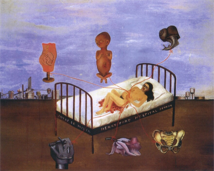 In Kahlo's painting <em>The Henry Ford Hospital, </em>she depicts her traumatic loss of a pregnancy.