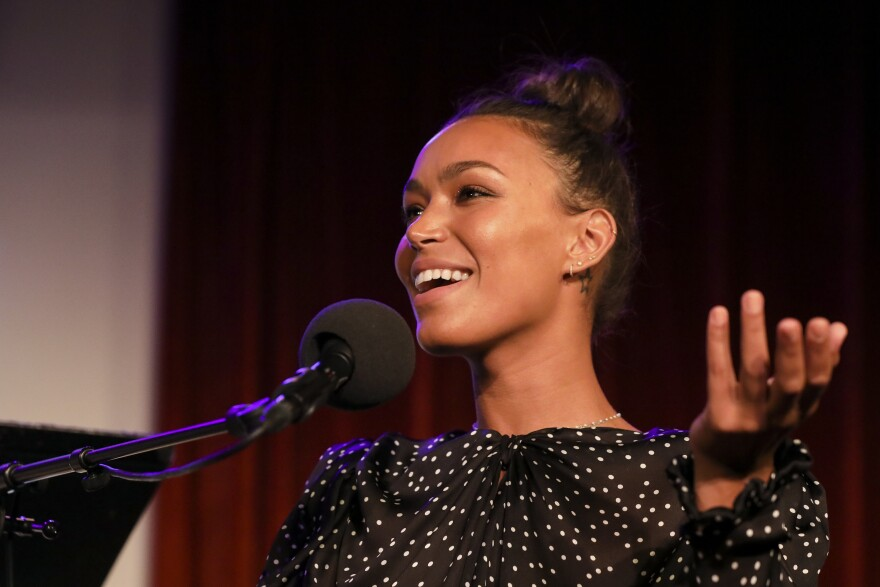 Ilfenesh Hadera appears on<em> Ask Me Another</em> at the Bell House in Brooklyn, New York.