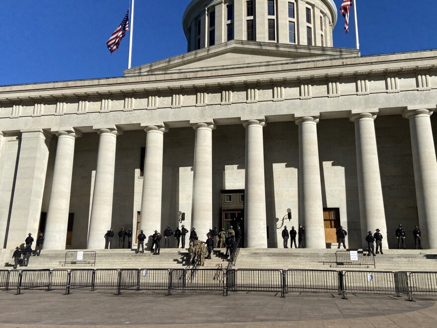 Ohio Highway Patrol troopers and Ohio National Guard personnel were at the Ohio Statehouse starting this weekend and continuing through Wednesday.