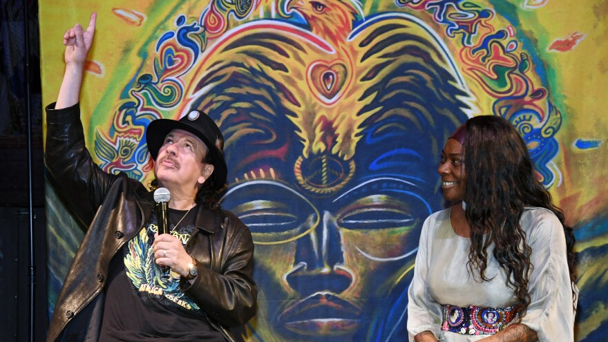 Carlos Santana with <em>Africa Speaks </em>vocalist Buika.
