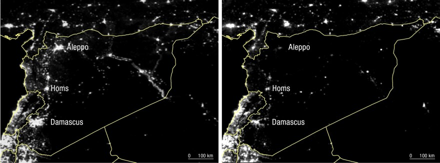 The satellite images provided by #withSyria shows the dramatic drop in lights at night in Syria between 2011 (left) and 2015 (right) with annotations by NPR.