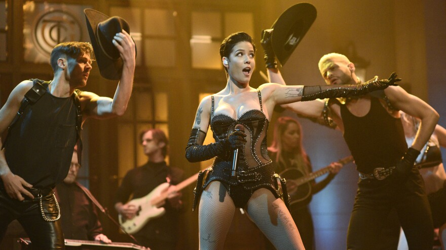 """SATURDAY NIGHT LIVE — """"Adam Driver"""" Episode 1778 — Pictured: Musical guest Halsey performs """"You Should Be Sad"""" on Saturday, January 25, 2020 — (Photo by: Will Heath/NBC/NBCU Photo Bank via Getty Images)"""
