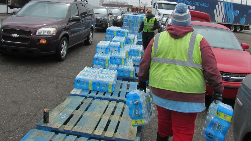 A water distribution center on Dort Highway in Flint, Mich.
