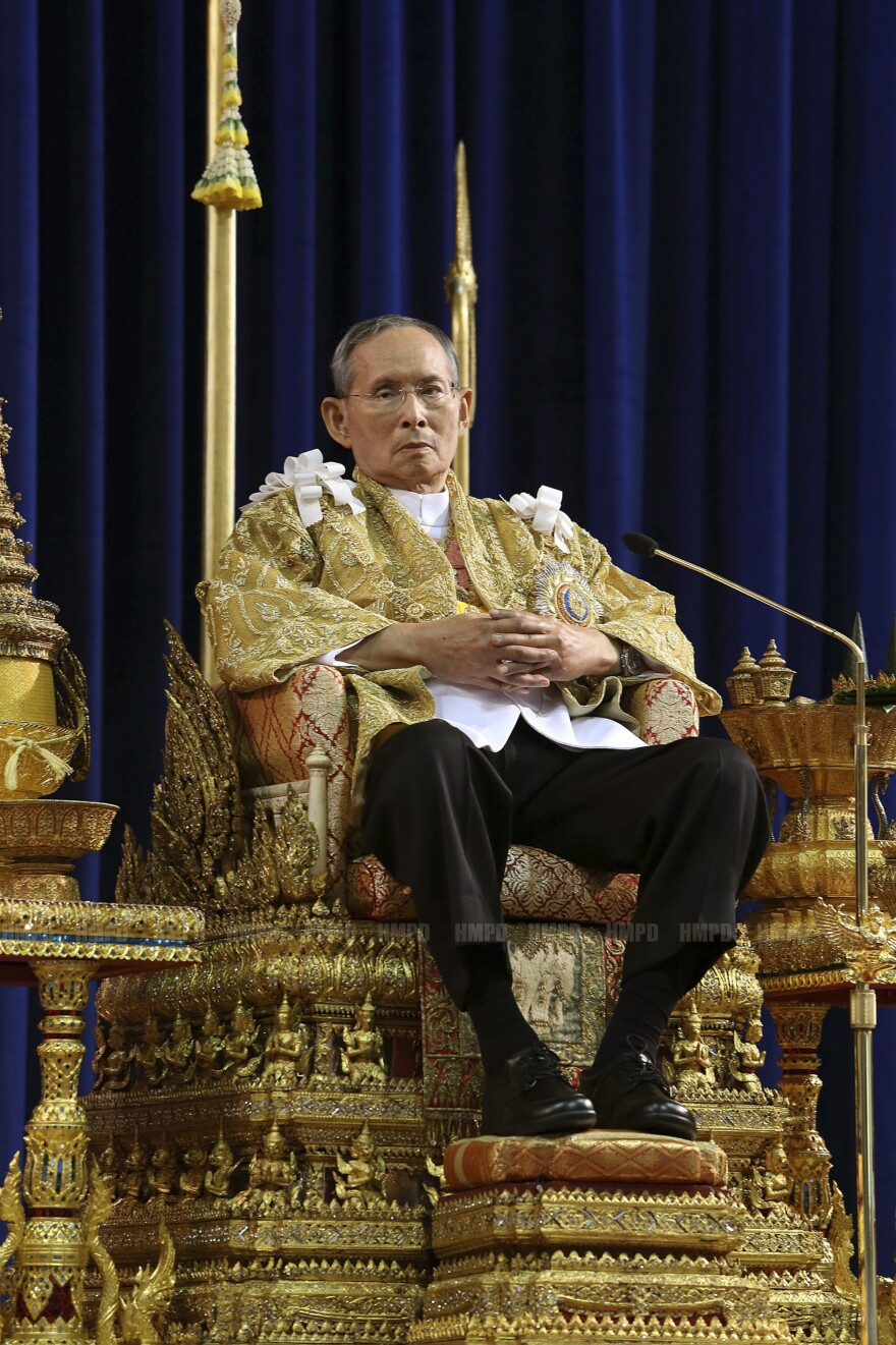 Thailand's King Bhumibol Adulyadej attends a ceremony celebrating his 86th birthday on Dec. 5. The revered king is a stabilizing force in a country that's prone to political turmoil and military coups.