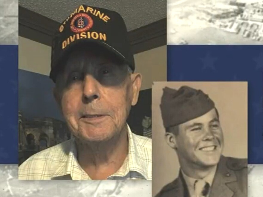 Photos of WWII veteran Neal McCallum at 93 and as a young man in the Marines.