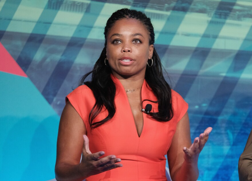 """Jemele Hill, co-host of ESPN's <em>SC6, </em>speaking on a panel last year. Hill has landed in hot water for calling President Trump a """"white supremacist."""" She's got her critics and lots of supporters."""