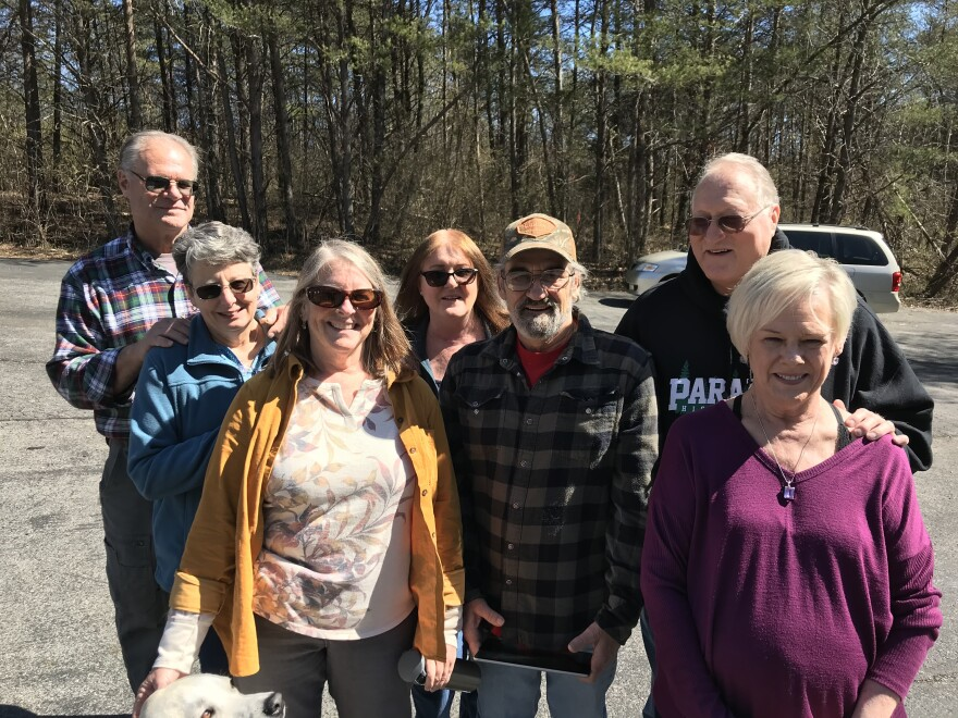 A group of Camp Fire survivors meet at the Cumberland Plateau Baptist Association in Crossville, Tenn., for their first reunion, which was organized by Dan and Sherry Wentland.