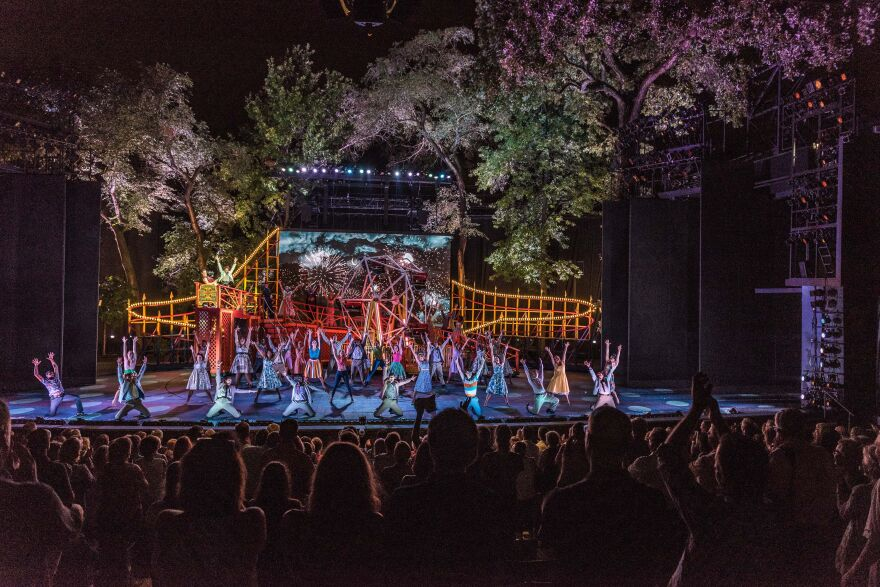 """The cast of the musical """"All Shook Up"""" at the Muny in 2017."""