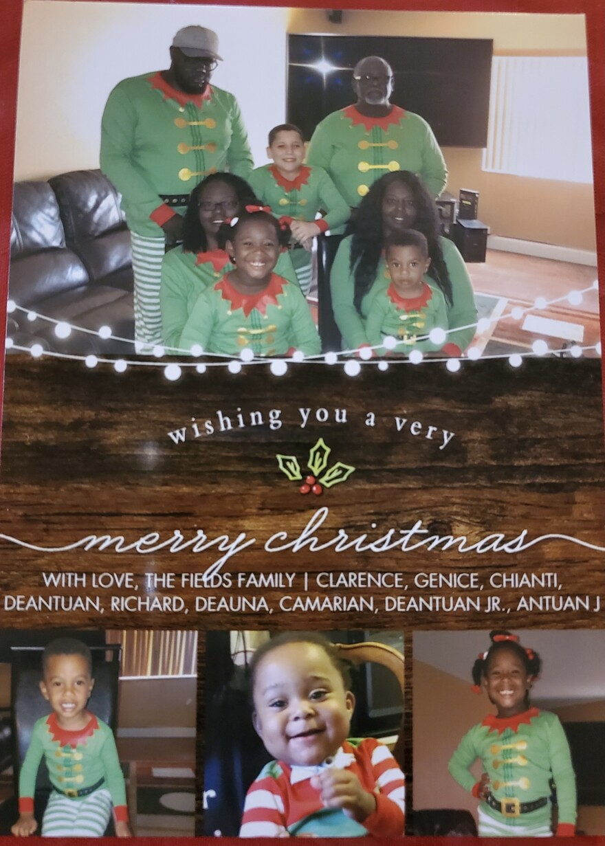 The Fields family's holiday card from 2019. DeAntuan Fields (top left) died in April from complications with COVID-19.