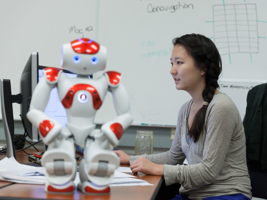 Student Erin Paeng works on human-robot trust in Harvey Mudd College's Human Experience and Agent Teamwork lab.