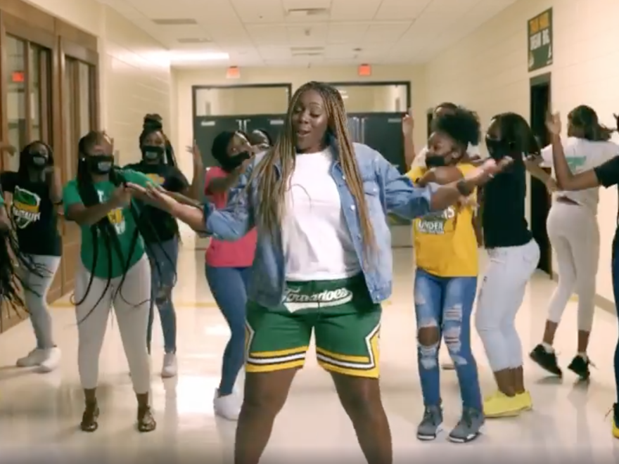 Callie Evans is a teacher and cheerleading coach at Monroe Comprehensive High School in Albany, Ga. She and her colleague Audri Williams rapped about virtual learning and the COVID-19 pandemic in popular music videos on Instagram.