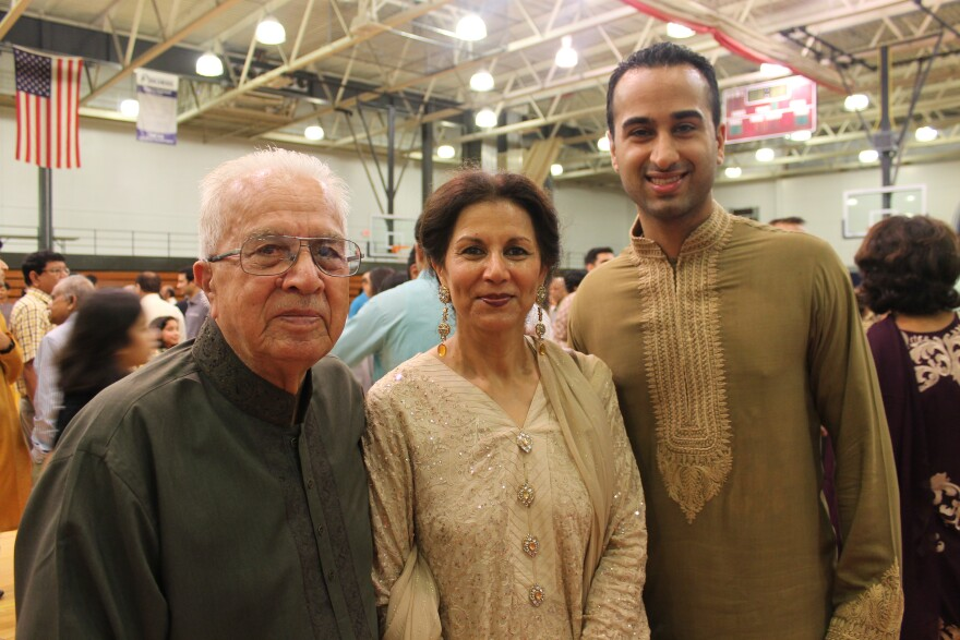 Dr. Ghazala Hayat (center) of the Islamic Foundation of Greater St. Louis celebrates Eid with her father, Malik Khan, and son, Jibraun Riaz.