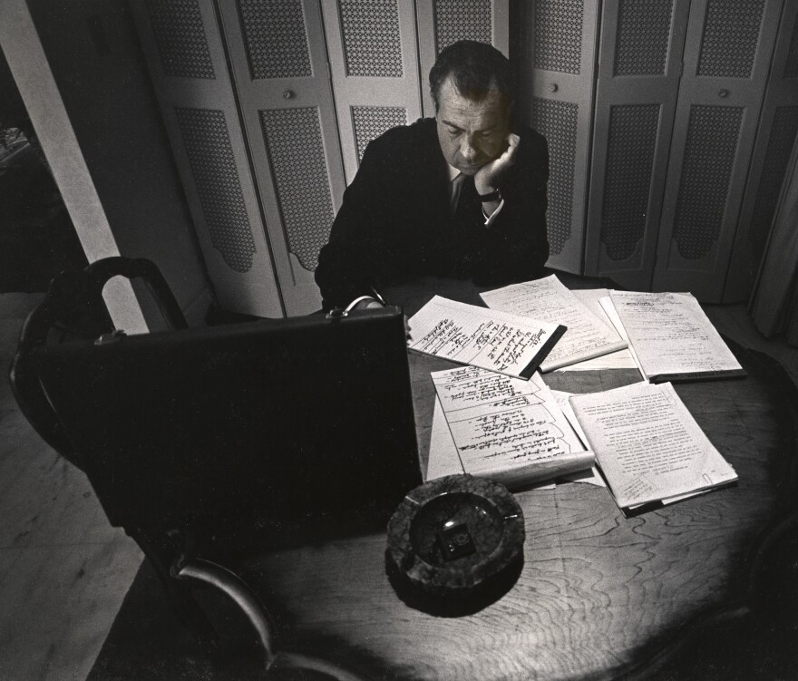 Alone in his hotel room, the presidential nominee Richard Nixon writes his acceptance speech, Republican National Convention, Miami Beach, 1968.