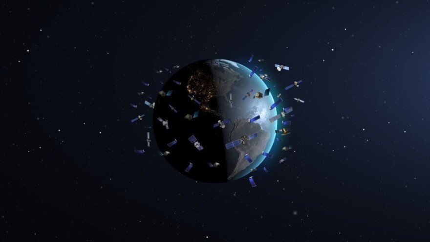 Constellation of satellites in low-Earth orbits (artist's impression, not to scale)