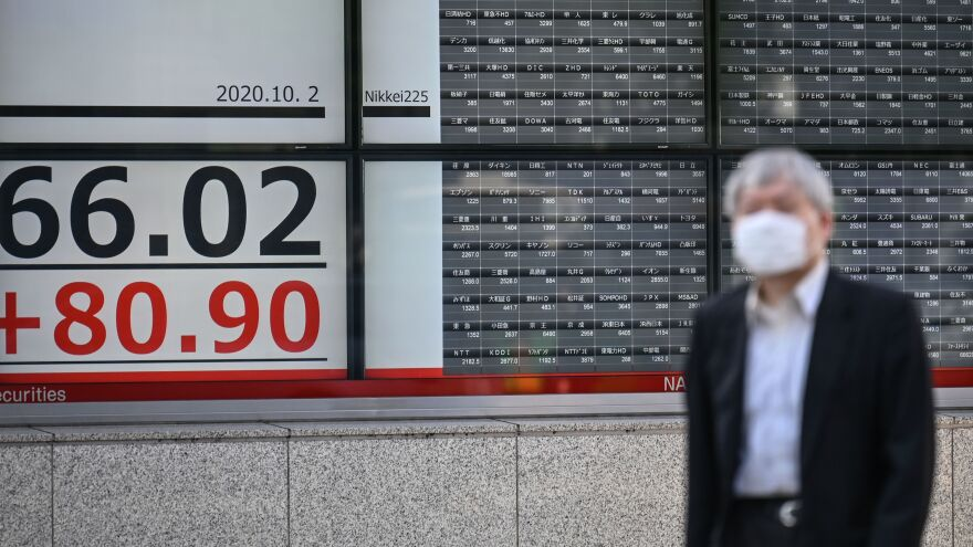 An electronic board displays stock prices near the Tokyo Stock Exchange in Tokyo on Friday. Markets were down somewhat after news that President Trump had tested positive for COVID-19.