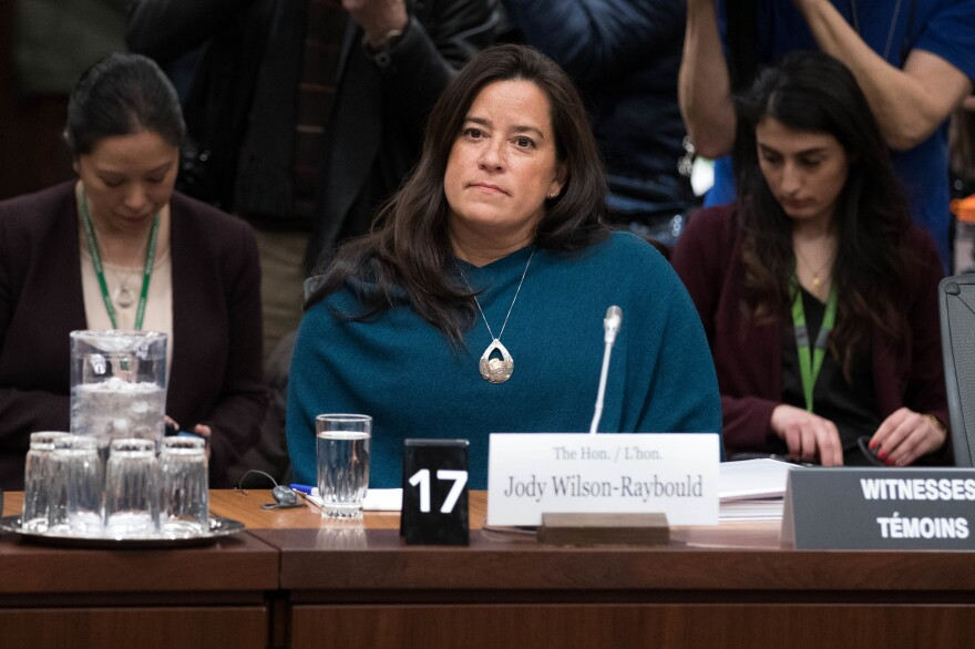 Former Attorney General Jody Wilson-Raybould arrives to give her testimony about SNC Lavalin before a justice committee hearing in Ottawa on Feb. 27. The Montreal-based company faces criminal charges that it engaged in a long-term bribery and corruption scheme in Libya that involved funneling tens of millions of dollars to the family of former dictator Moammar Gadhafi.