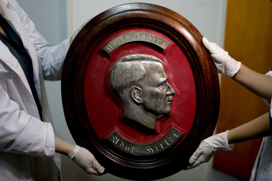 A bust relief portrait of Nazi leader Adolf Hitler was uncovered, along with mummified animals and items originally from Egypt, Japan and China.