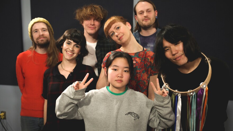 Superorganism inside the World Cafe Performance Studio