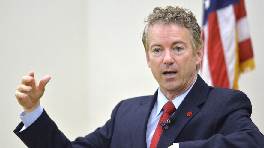 Kentucky Sen. Rand Paul speaks to the Chase Federalist Society at Northern Kentucky University last month in Highland Heights, Ky.