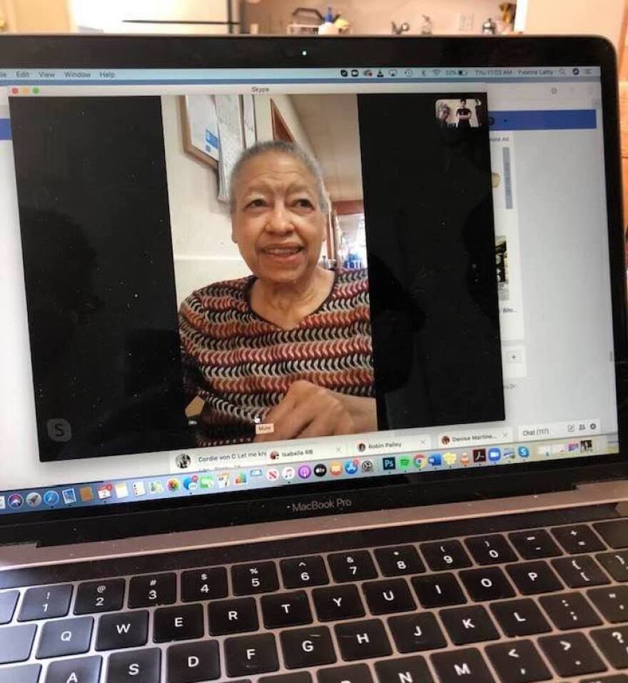 Ramona Latty, talking to her daughter Yvonne over Skype from her nursing home at the beginning of the pandemic.
