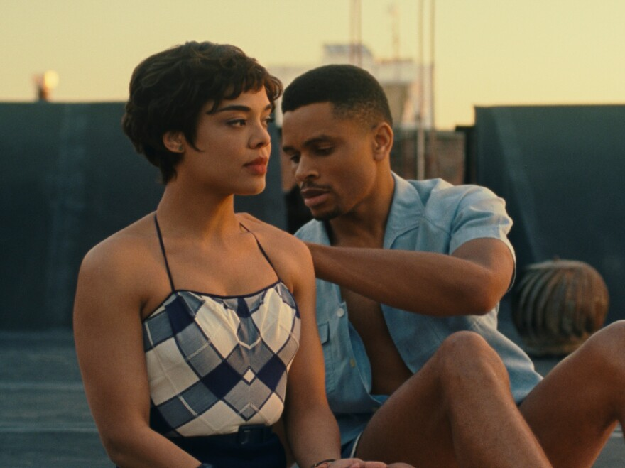Tessa Thompson as Sylvie and Nnamdi Asomugha as Robert in <em>Sylvie's Love.</em>