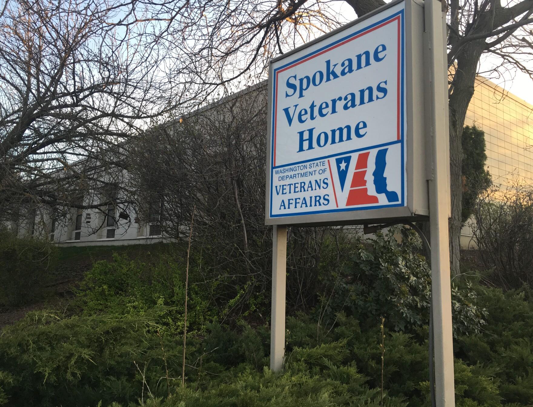 The Spokane Veterans Homes sign outside their building.