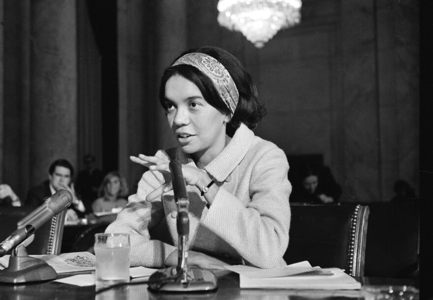 Marian Wright Edelman, as an attorney for the NAACP Legal Defense Fund, testifies before Congress about the government's anti-poverty program in 1967.
