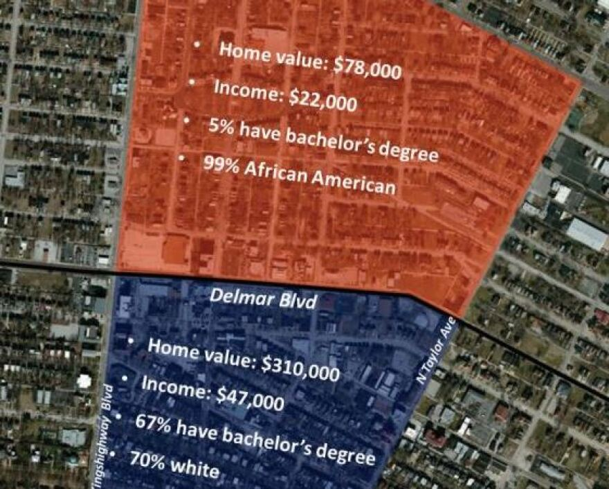 A graphic included in the 'For the Sake of All' report shows the economic and racial divide along Delmar Blvd in St. Louis.