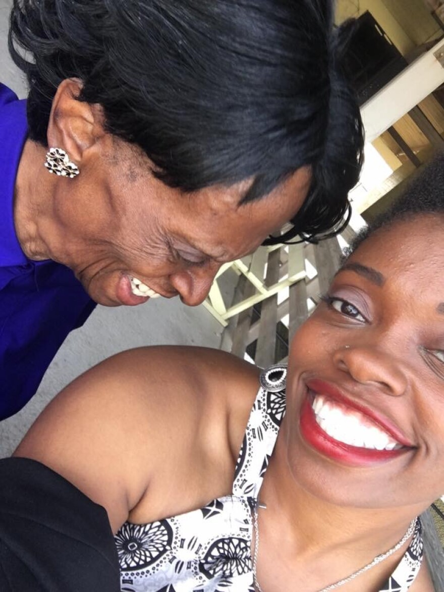Shanti and her grandmother Laura smile for a selfie.