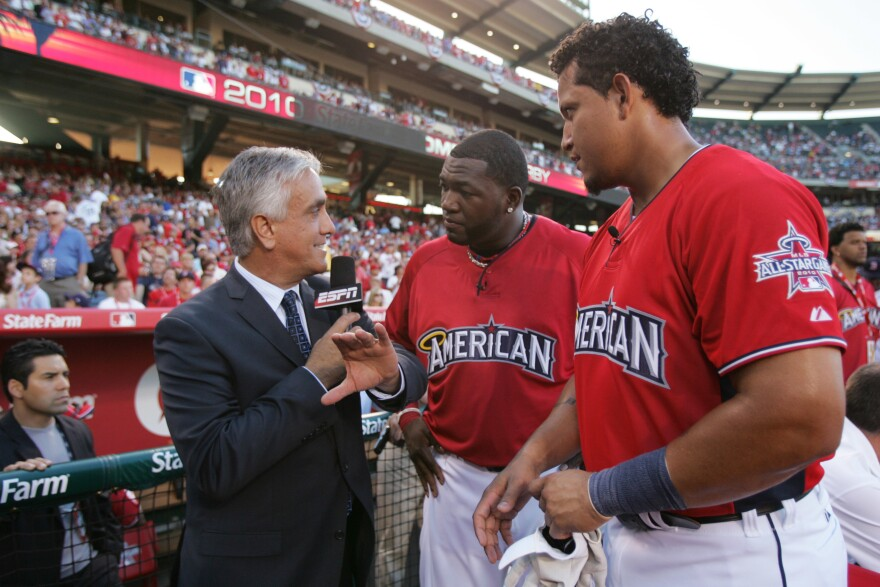 ESPN's Pedro Gomez interviews American League All-Stars David Ortiz and Miguel Cabrera during the 2010 State Farm Home Run Derby at Angel Stadium of Anaheim on July 12, 2010.