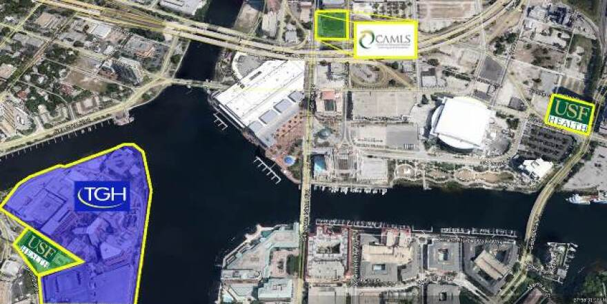 At far right is the proposed downtown location of the USF Morsani College of Medicine and Heart Institute. USF CAMLS is in the center; Tampa General Hospital is on the left.