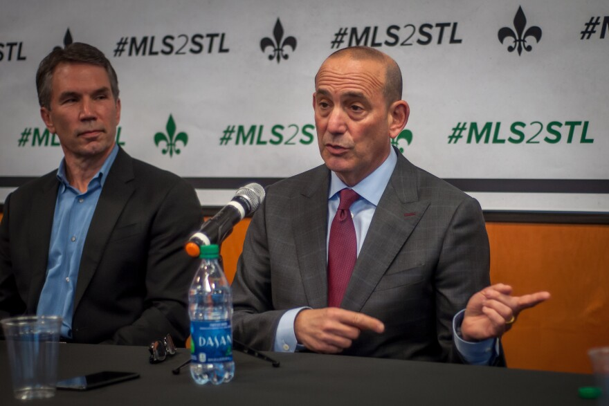 MLS Commissioner Don Garber speaks at a news conference on Monday, March 27, 2017.